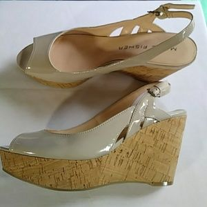 3e081dec3a38 Marc Fisher cork wedge patent peep toe heel